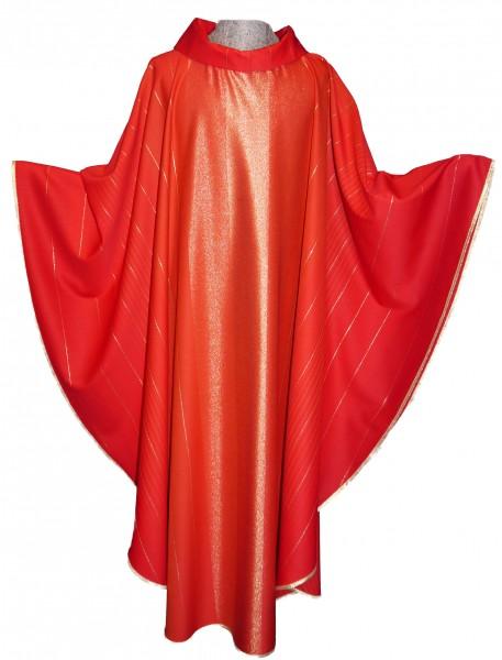 Kasel - rot mit eingewebten Goldstreifen - Vorderteil