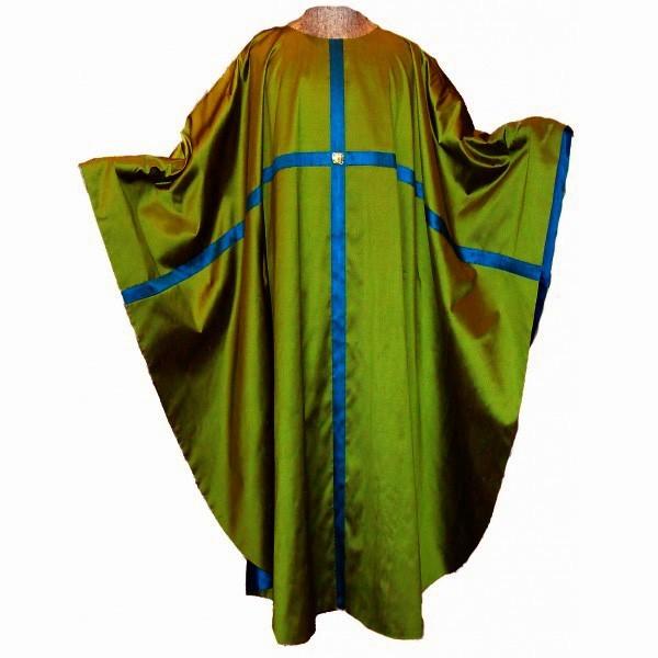 Messgewand - grün aus Seide mit durchlaufendem Kreuz