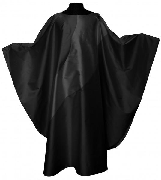 Seidengewand in schwarz mit grauem Einsatz