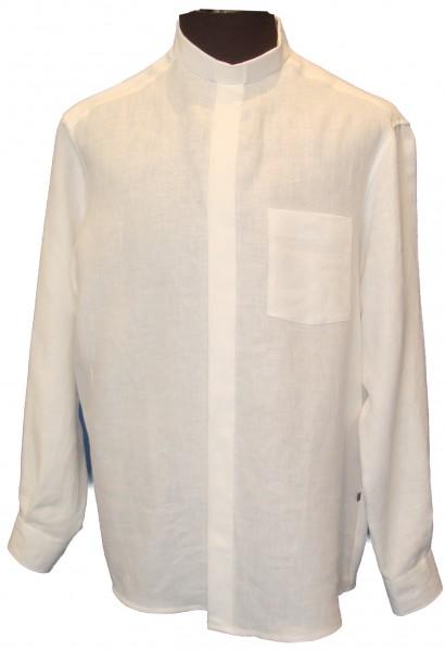 Collarhemd aus weißem Leinen in S, M & 4XL