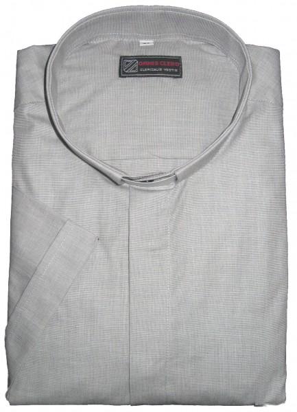 Hellgraues, kurzärmeliges Kollarhemd fil-a-fil