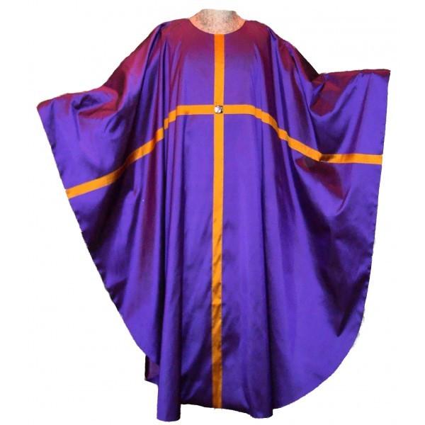 Messgewand - violett aus Seide mit durchlaufendem Kreuz