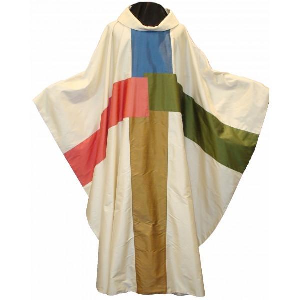 Seidenkasel - cremefarben mit 4-farbigem Kreuz