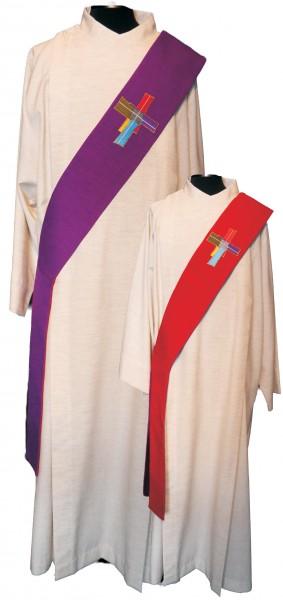 Rot/violette Wende-Diakonstola mit Zukunftsbild