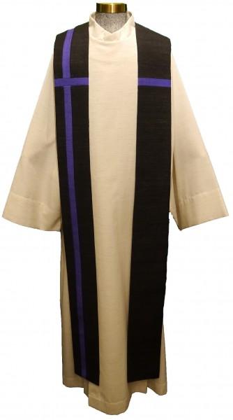 Seidenstola - schwarz mit violettem Kreuz