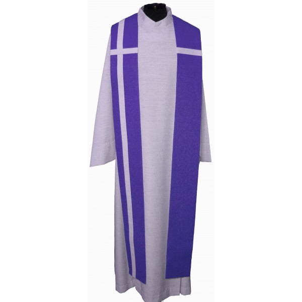 Seidenstola - violett mit weißem Kreuz