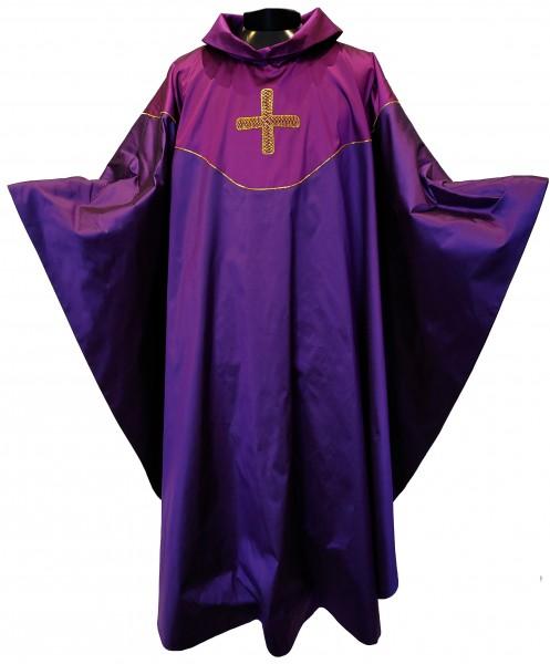 Seidenkasel - violett mit Blende und Japangoldkreuz 2