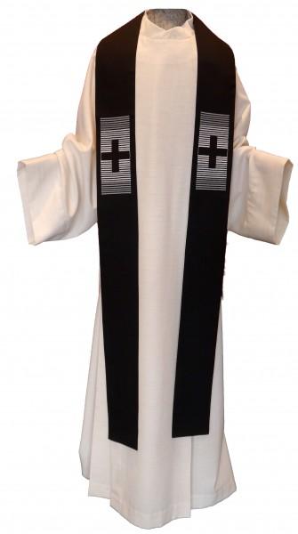 Stola - schwarz mit 2 grauen Kreuzen