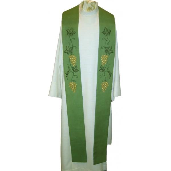 Stola - grün mit Weinrebe handbestickt aus Seide