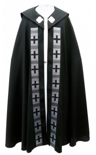 Chormantel - schwarz mit Kreuzstäben in grau - Vorderteil