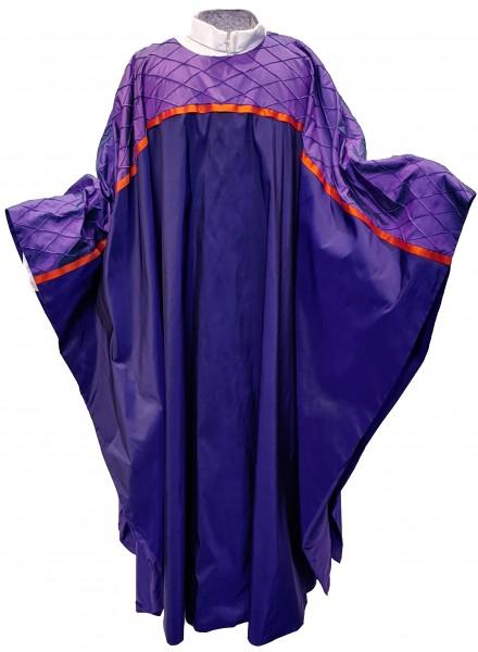 violettes Seidengewand mit gesteppte Passe 1