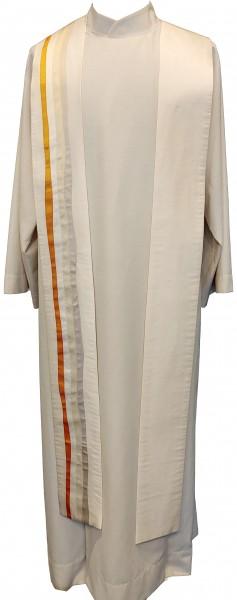 cremefarbene Seidenstola mit orangefarbenen Streifen
