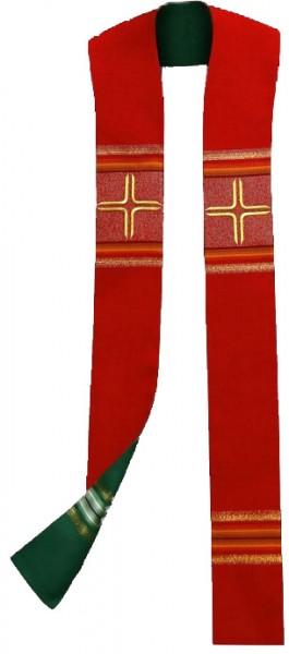Wendestola rot/grün mit Streifen und Kreuzen r