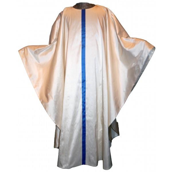 cremefarbene Seidenkasel mit blauem Streifen - Vorderteil