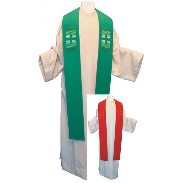 Wendestola mit Negativkreuzen bestickt - grün/rot