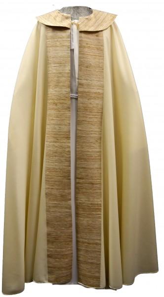 moderner cremefarbener Chormantel mit Seidenstab und Cappa - Vorderteil