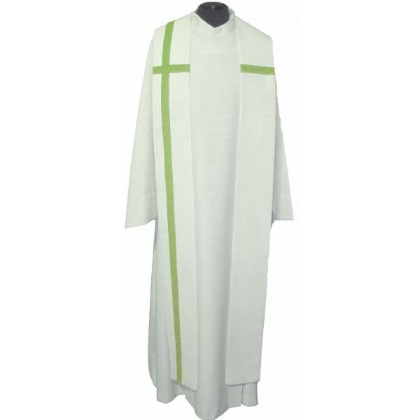 cremefarbene Seidenstola mit eingesetztem grünen Kreuz