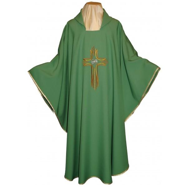 Messgewand - leicht, in grün mit Kreuz und FIsch - Vorderteil