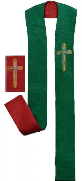 Wendestola rot/grün Ährenkreuz