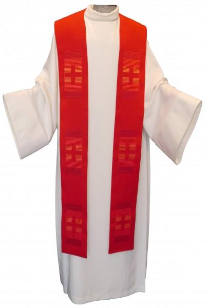 rote Stola mit 6 Kreuzen - bestickt