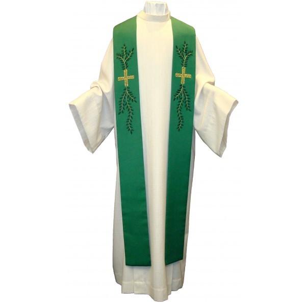 Stola - grün mit Blattranke und Kreuz handbestickt