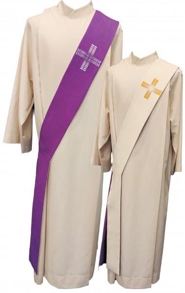 Wende-Diakonstola in weiß/violett mit Kreuzen