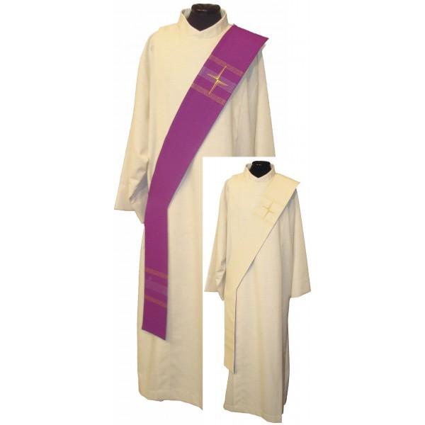 Wende-Diakonstola creme/violett mit Streifen und Kreuzen - Vorderteil