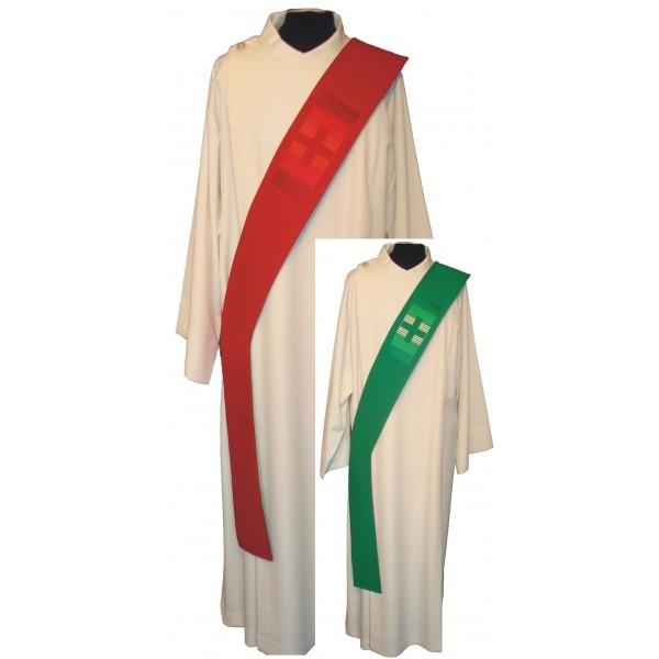 Wende-Diakonstola rot/grün mit Kreuz bestickt - Vorderteil