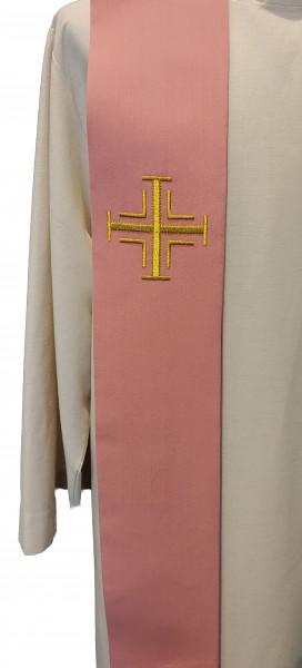 rosafarbene Stola mit goldenen Kreuzen