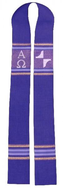 Stola - violett mit Streifen, Kreuz, A und O