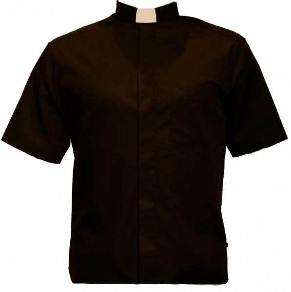 kurzärmeliges, schwarzes Slim Fit Collarhemd