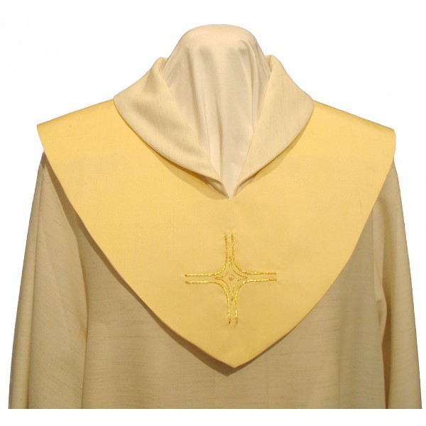 Scapulier - goldfarben bestickt mit Kreuz und Perle - Vorderteil