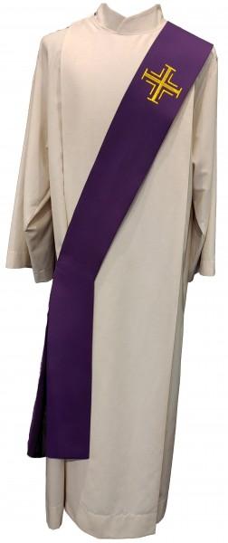 Diakonstola violett mit goldenen Kreuzen