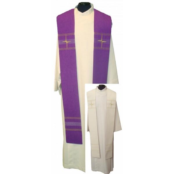 Wendestola mit Kreuzen und Streifen bestickt - weiß/violett