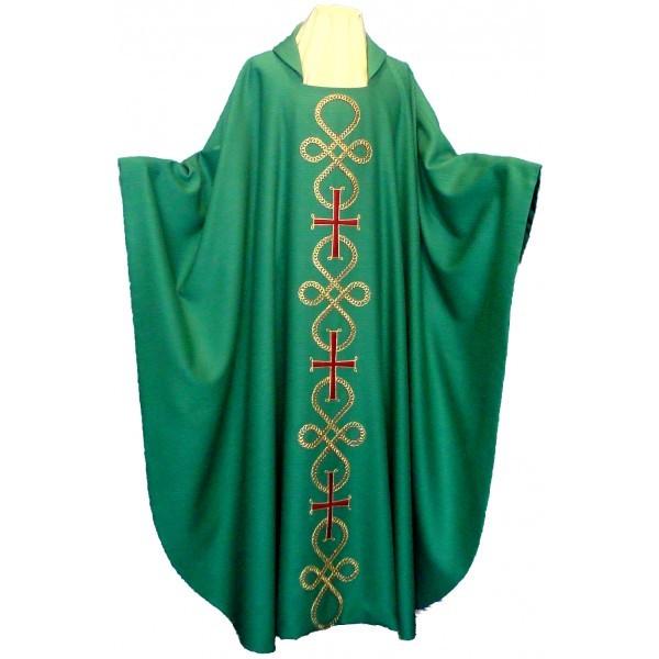 Messgewand - grün, bestickt mit Schleifenornamenten und Kreuzen