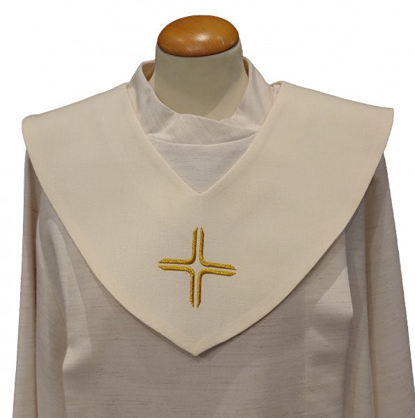 cremefarbenes Scapulier - goldenes Kreuz