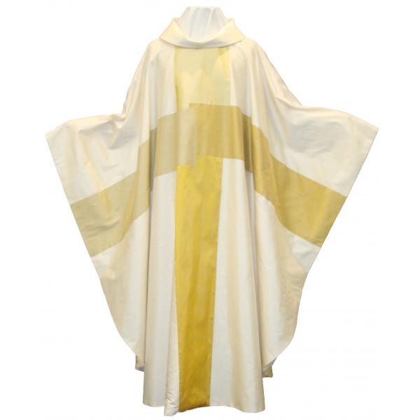 Seidenkasel - cremefarben mit 4-teiligem Kreuz in Goldtönen