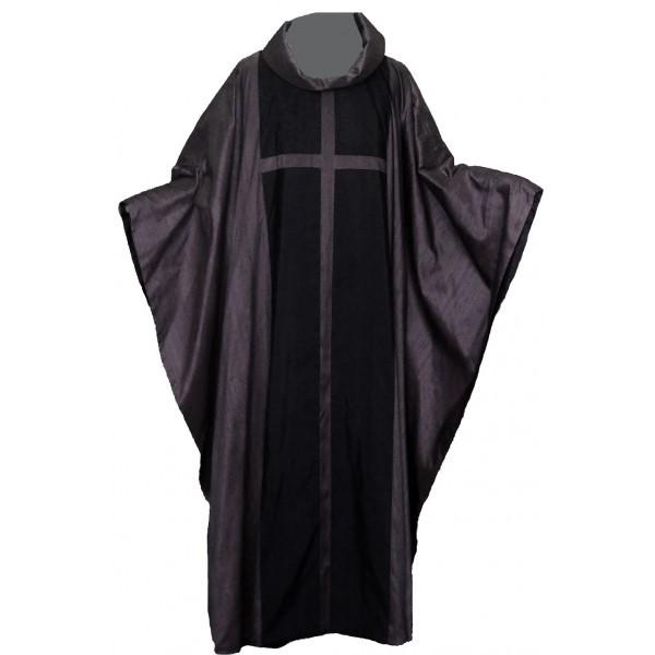 Seidengewand - dunkelgrau mit großem Kreuz
