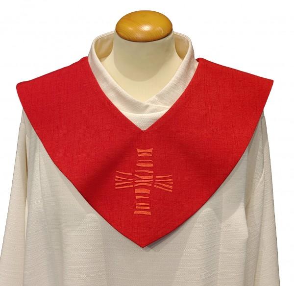 rotes Scapulier - modernes Kreuz