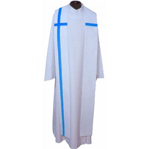 cremefarbene Seidenstola mit blauem Kreuz