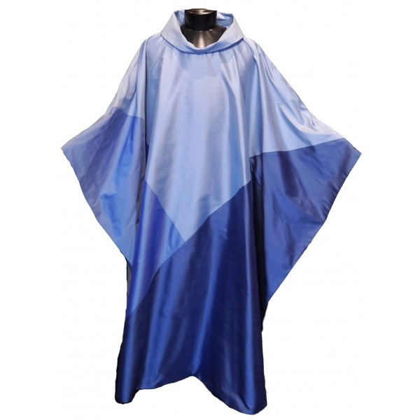 Seidenkasel - blau mit Dreieck - Vorderteil