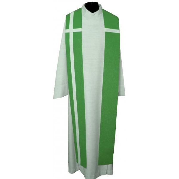 grüne Seidenstola mit weißem Kreuz