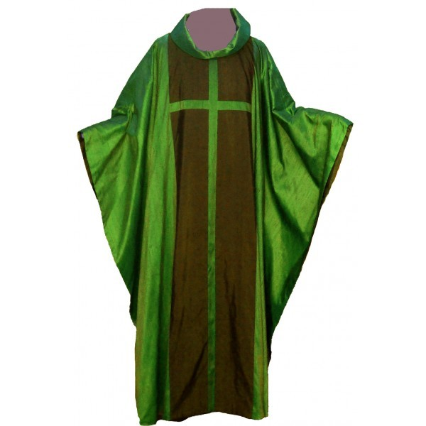 Seidengewand - grün mit großem Kreuz