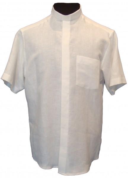 Collarhemd - kurzärmelig aus weißem Leinen in L, 3XL & 4XL