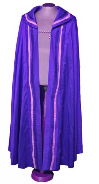 moderner violetter Rauchmantel aus reiner Seide - Vorderteil