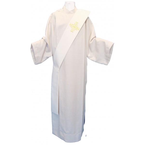 Diakonstola creme bestickt mit goldenen Kreuzen - Vorderteil