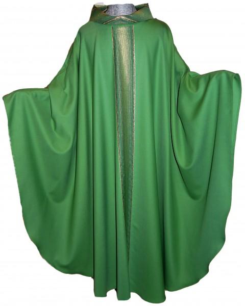Grünes Messgewand mit gestreiften Mittelstab und Kragen