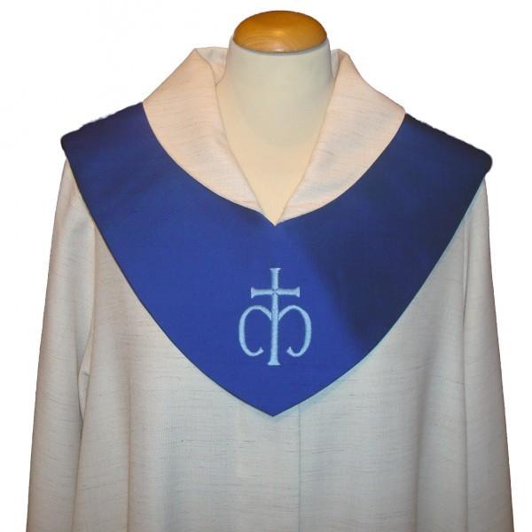 blaues Scapulier mit Marienkreuz - reine Seide- Vorderteil