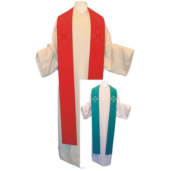Wendestola - schlicht, grün/rot mit 2 Kreuzen