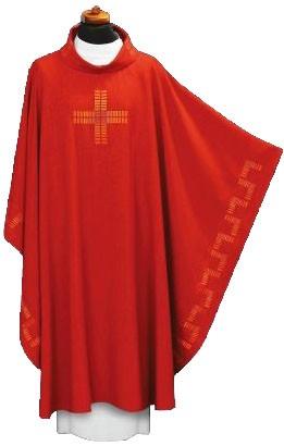 Rotes Messgewand mit Randbestickung und Kreuz 1